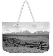 Teton Landscape With Fence - Black And White Weekender Tote Bag