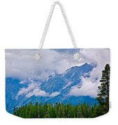 Teton Peaks Through Clouds In Grand Teton National Park-wyoming   Weekender Tote Bag