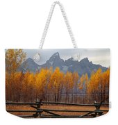 1m9354-teton Range In Autumn From Jackson Hole Ranch Country Weekender Tote Bag