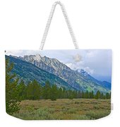Tetons Above The Meadow In Grand Teton National Park-wyoming Weekender Tote Bag