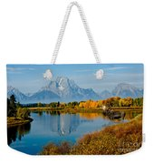 Tetons With Moose Weekender Tote Bag