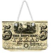 Texas Banknote, 1840 Weekender Tote Bag
