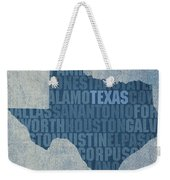 Texas Word Art State Map On Canvas Weekender Tote Bag
