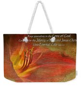 Textured Red Daylily With Verse Weekender Tote Bag