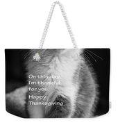 Thanksgiving Kitty Bw Weekender Tote Bag