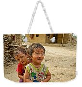 Tharu Village Children Love To Greet Us-nepal- Weekender Tote Bag