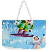 The Aerial Skier - 10 Weekender Tote Bag by Hanne Lore Koehler