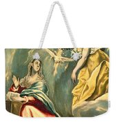 The Annunciation, C.1595-1600 Oil On Canvas Weekender Tote Bag