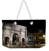 The Arch Of Constantine And The Colosseum At Night Weekender Tote Bag