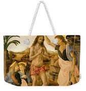 The Baptism Of Christ By John The Baptist Weekender Tote Bag by Leonardo da Vinci