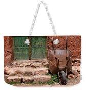 Rusty Wheelbarrow And Green Door Weekender Tote Bag