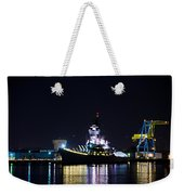 The Battleship New Jersey At Night Weekender Tote Bag