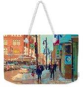 The Bay Department Store Downtown Montreal University And St Catherine Winter City Scene C Spandau  Weekender Tote Bag