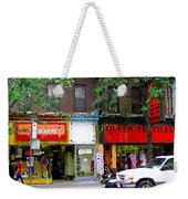 The Beadery Craft Shop  Queen Textiles Fabric Store Downtown Toronto City Scene Paintings Cspandau  Weekender Tote Bag