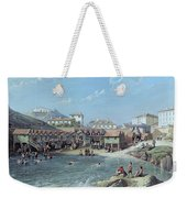 The Beginning Of Sea Swimming In The Old Port Of Biarritz  Weekender Tote Bag