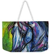 The Blue Horse On Green Background Weekender Tote Bag