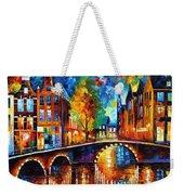 The Bridges Of Amsterdam - Palette Knife Oil Painting On Canvas By Leonid Afremov Weekender Tote Bag