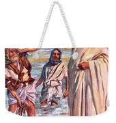 The Call Of Andrew And Peter Weekender Tote Bag by Harold Copping