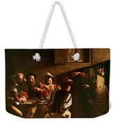 The Calling Of St Matthew Weekender Tote Bag by Michelangelo Merisi o Amerighi da Caravaggio