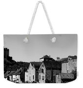 The Castle Above The Village Panorama In Black Nd White Weekender Tote Bag