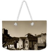 The Castle Above The Village Panorama In Sepia Weekender Tote Bag