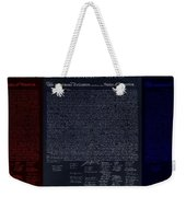 The Declaration Of Independence In Negative Red White And Blue Weekender Tote Bag