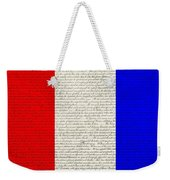 The Declaration Of Independence In Red White Blue Weekender Tote Bag by Rob Hans