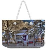 The Decorated Little House In The Snow Weekender Tote Bag