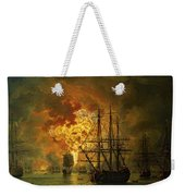 The Destruction Of The Turkish Fleet At The Bay Of Chesma Weekender Tote Bag by Jacob Philippe Hackert