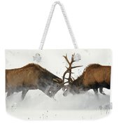 The Duel Of Fighting Elk Weekender Tote Bag