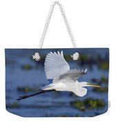 The Elegant Great Egret In Flight Weekender Tote Bag
