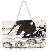 The Elephant's Child Having His Nose Pulled By The Crocodile Weekender Tote Bag by Joseph Rudyard Kipling