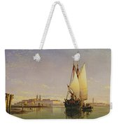 The Euganean Hills And The Laguna Of Venice - Trabaccola Waiting For The Tide Sunset Weekender Tote Bag by Edward William Cooke