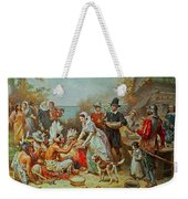 The First Thanksgiving Weekender Tote Bag by Jean Leon Gerome Ferris