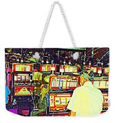The Gambler Meets The One Armed Bandit In Casino Royale Standoff At High Noon Urban Casino Art Scene Weekender Tote Bag