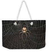 The Hunter And Its Pray - A Gold Fly Caught By A Gold Spider Weekender Tote Bag