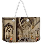 The Interior Of A Gothic Church Weekender Tote Bag by Hendrik the Younger Steenwyck