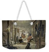 The Interior Of A Hut Of A Mandan Chief Weekender Tote Bag by Karl Bodmer