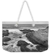 The Jagged Rocks And Cliffs Of Montana De Oro State Park In California In Black And White Weekender Tote Bag