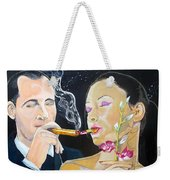 The Kiss Edge Listen With Music Of The Description Box Weekender Tote Bag by Lazaro Hurtado