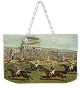 The Liverpool Grand National Steeplechase Coming In Weekender Tote Bag by Charles Hunt and Son