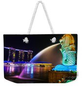 The Merlion Fountain And Marina Bay Sands - Singapore Weekender Tote Bag