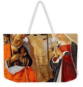 The Nativity With The Annunciation To The Shepherds In The Distance Weekender Tote Bag