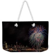 The New York City Skyline Sparkles Weekender Tote Bag by Susan Candelario