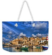 the old Jaffa port Weekender Tote Bag by Ron Shoshani