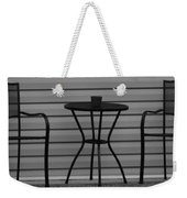 The Patio In Black And White Weekender Tote Bag by Rob Hans