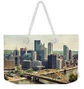 The Pittsburgh Skyline Weekender Tote Bag by Lisa Russo