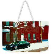 The Point Pointe St Charles Snowy Walk Past Red Brick House Winter City Scene Carole Spandau Weekender Tote Bag