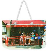 The Red Awning Cafe On St. Denis - A Shady Spot To Enjoy A Cold Beer On A Very Hot Sunday In July Weekender Tote Bag