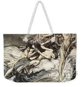 The Rhinemaidens Obtain Possession Of The Ring And Bear It Off In Triumph Weekender Tote Bag by Arthur Rackham